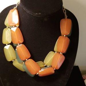 Tricolor big bead three strand necklace
